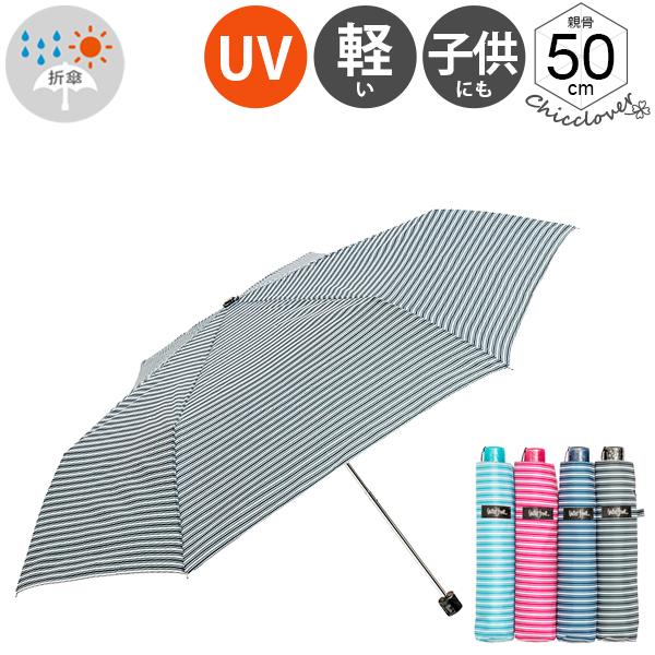ぺん細晴雨兼用ボーダー折りたたみ傘